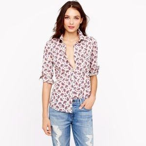J. Crew Perfect Shirt Button Up in Papaya Paisley